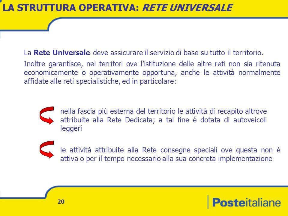 LA STRUTTURA OPERATIVA: RETE UNIVERSALE