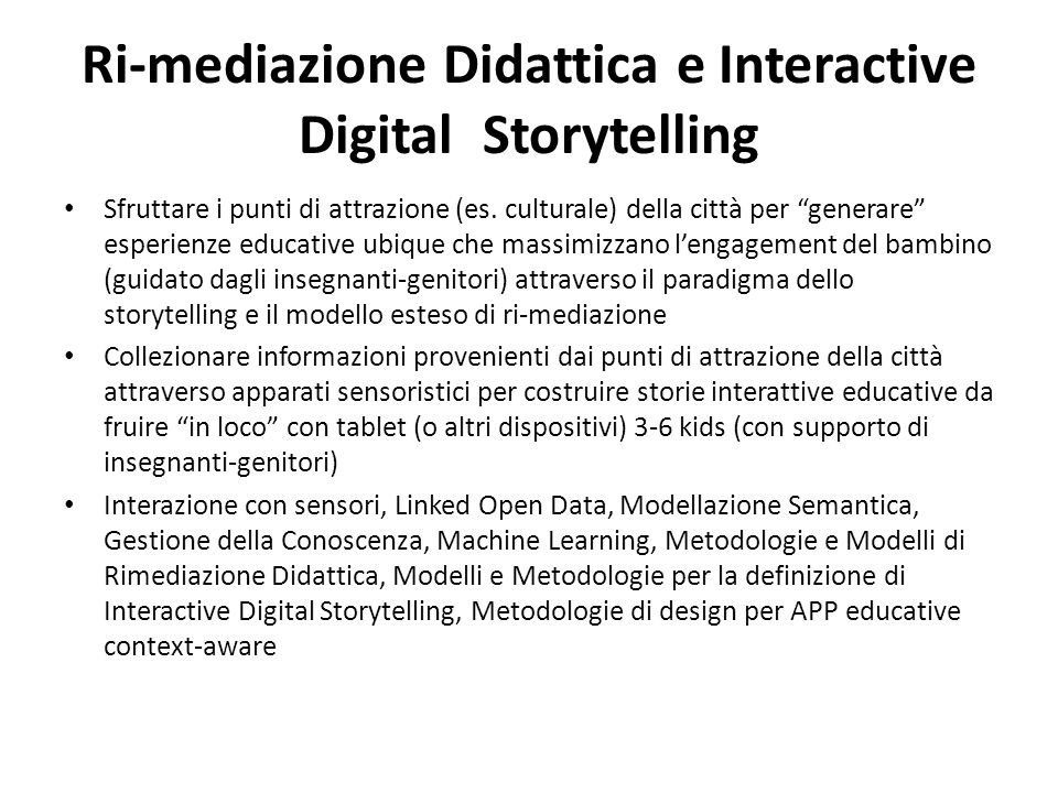 Ri-mediazione Didattica e Interactive Digital Storytelling