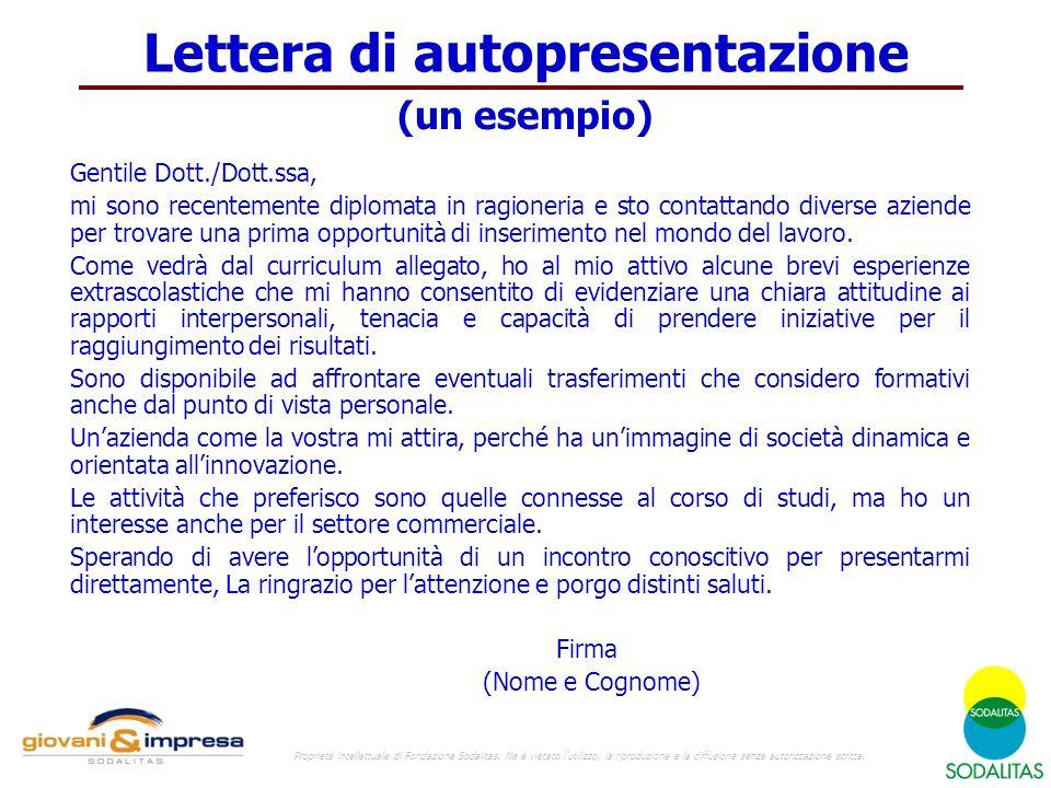 Lettera di autopresentazione