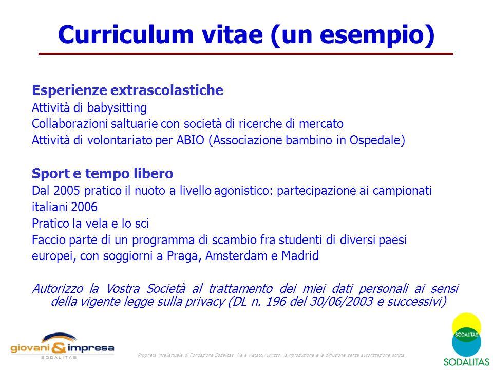 Curriculum vitae (un esempio)