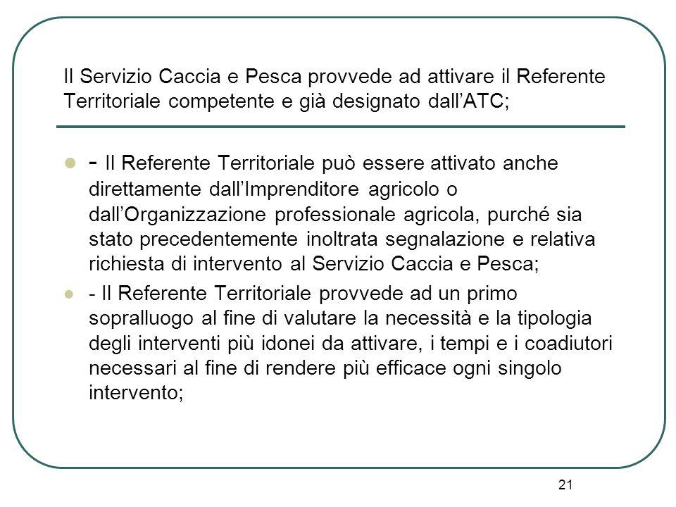 Il Servizio Caccia e Pesca provvede ad attivare il Referente Territoriale competente e già designato dall'ATC;