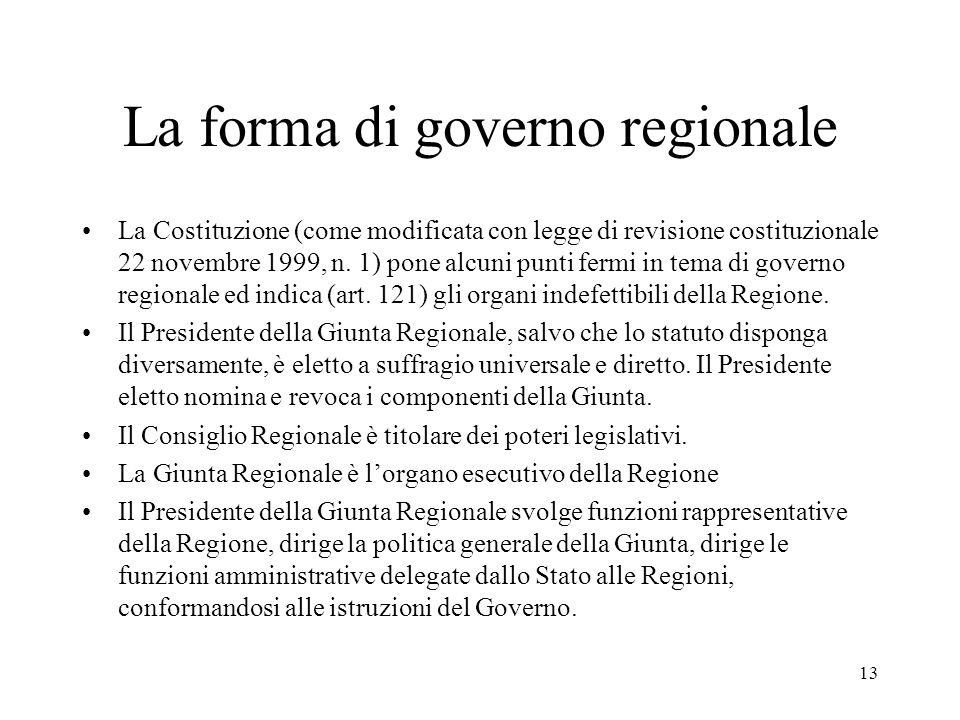 La forma di governo regionale