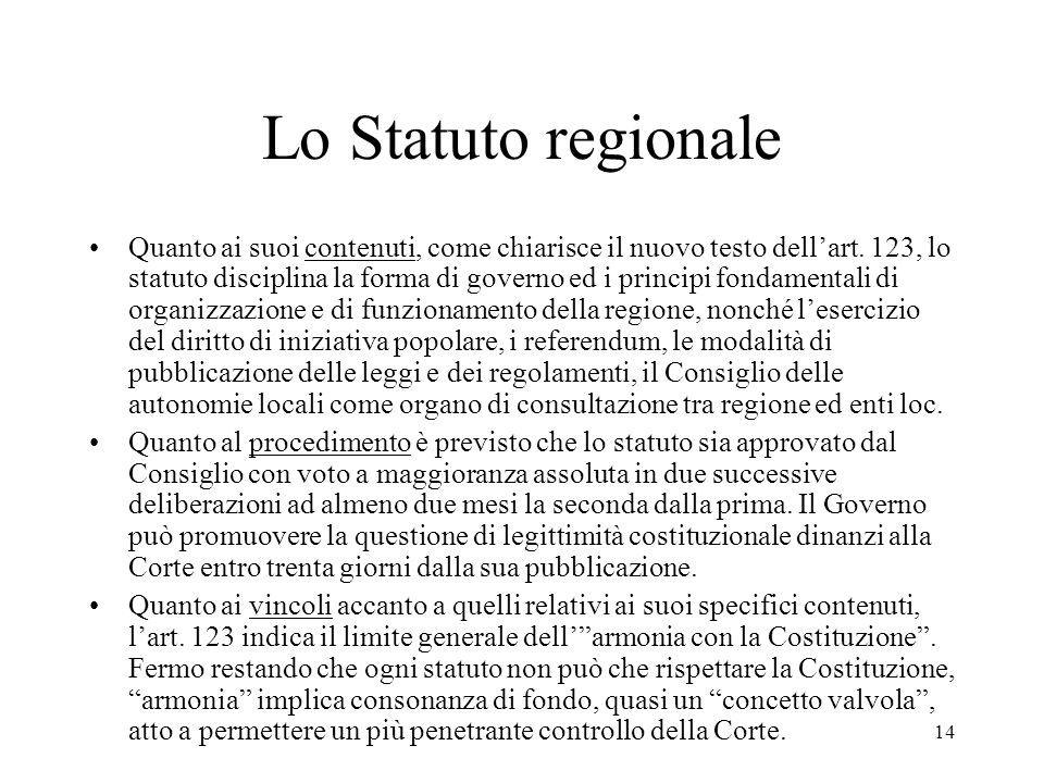 Lo Statuto regionale