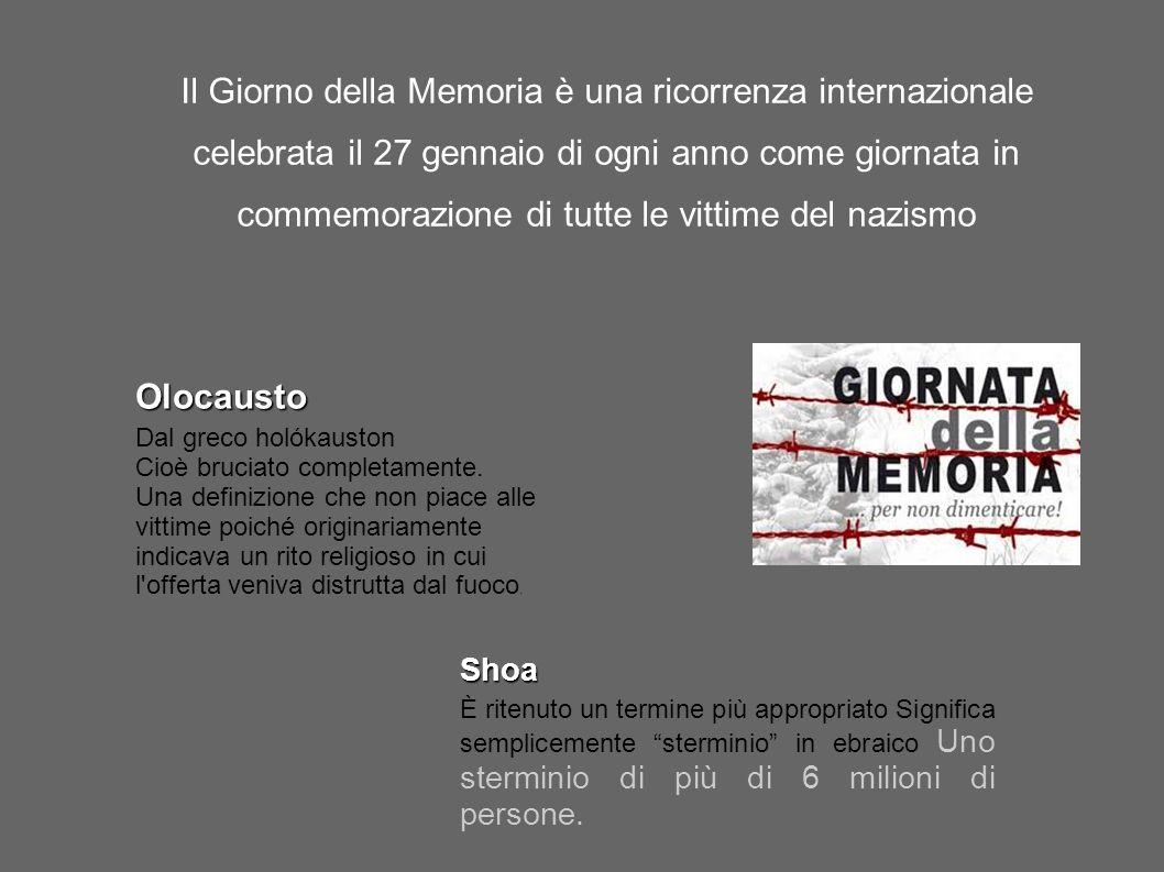 Il Giorno della Memoria è una ricorrenza internazionale celebrata il 27 gennaio di ogni anno come giornata in commemorazione di tutte le vittime del nazismo