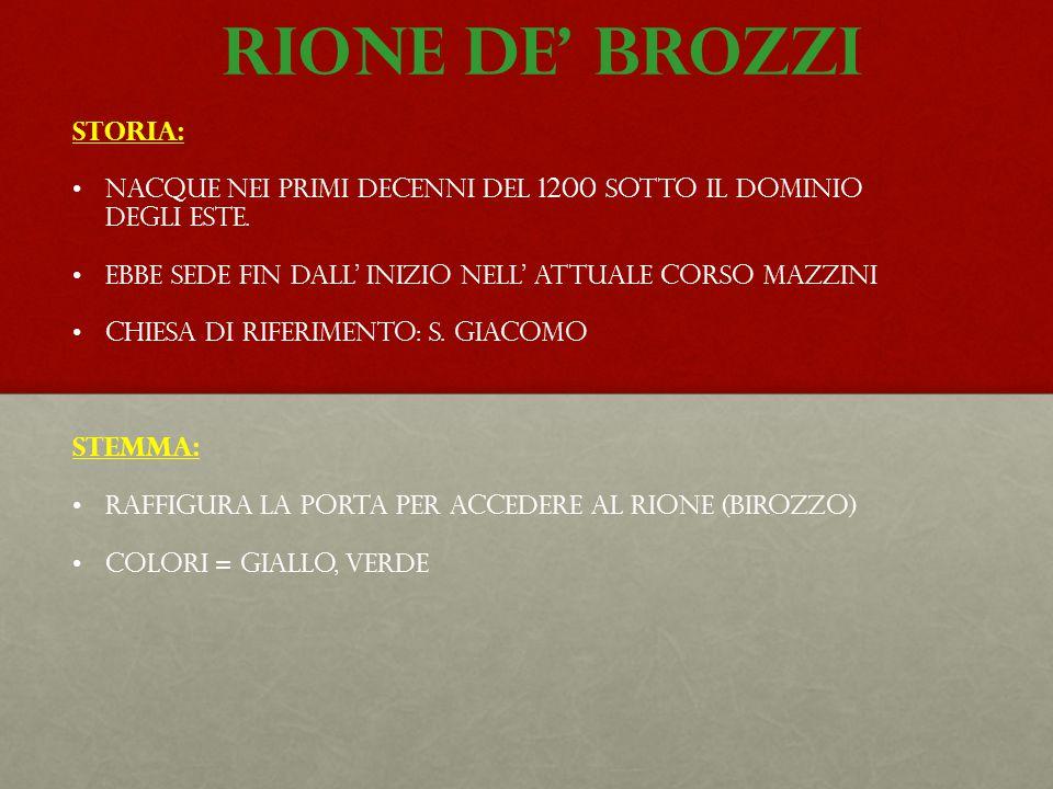 Rione de' brozzi STORIA: