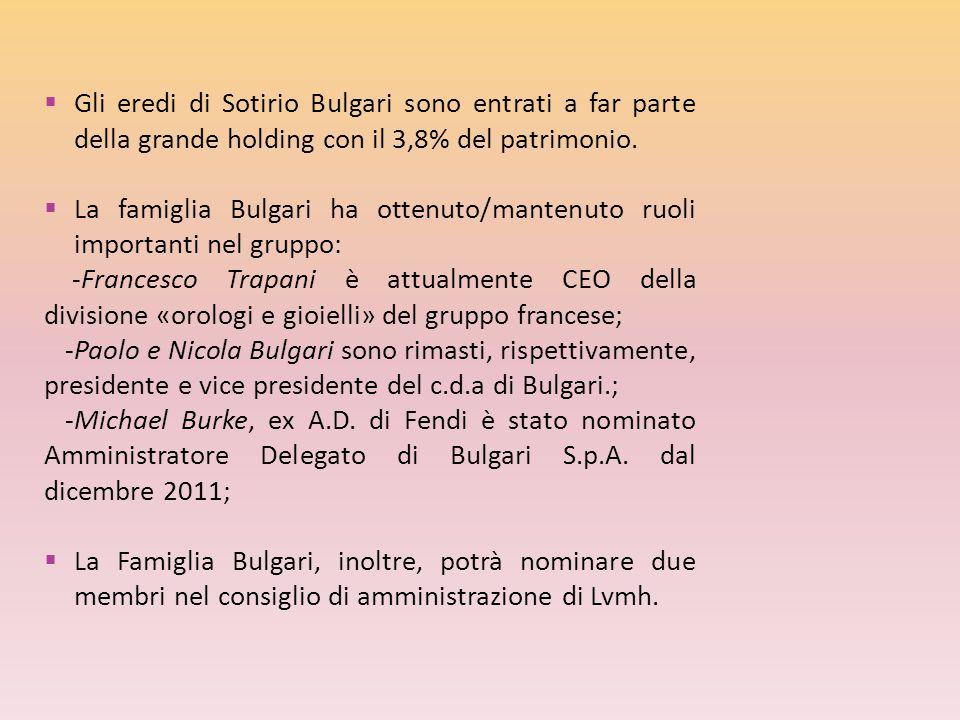 Gli eredi di Sotirio Bulgari sono entrati a far parte della grande holding con il 3,8% del patrimonio.
