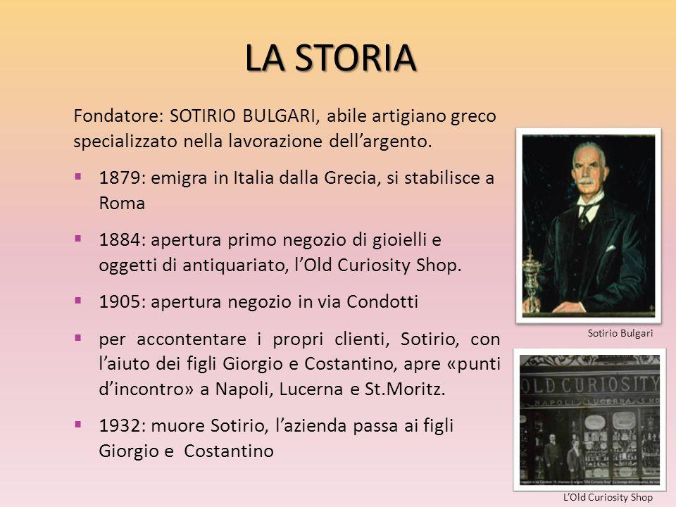 LA STORIA Fondatore: SOTIRIO BULGARI, abile artigiano greco specializzato nella lavorazione dell'argento.
