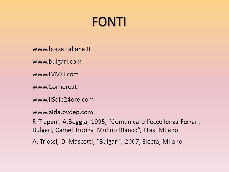 FONTI www.borsaitaliana.it www.bulgari.com www.LVMH.com