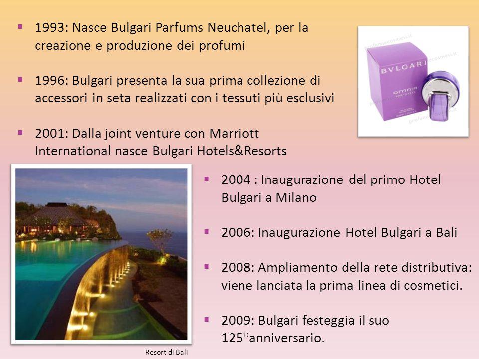 2004 : Inaugurazione del primo Hotel Bulgari a Milano