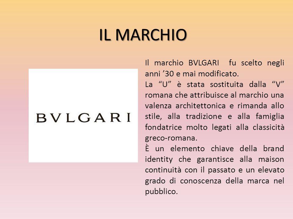 IL MARCHIO Il marchio BVLGARI fu scelto negli anni '30 e mai modificato.