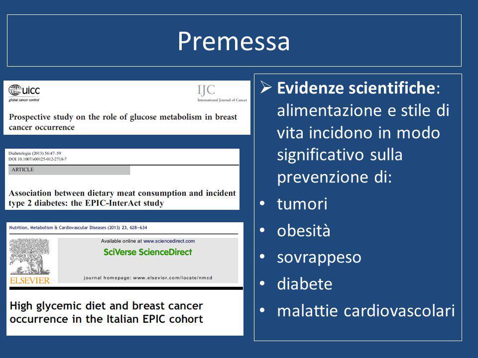 Premessa Evidenze scientifiche: alimentazione e stile di vita incidono in modo significativo sulla prevenzione di: