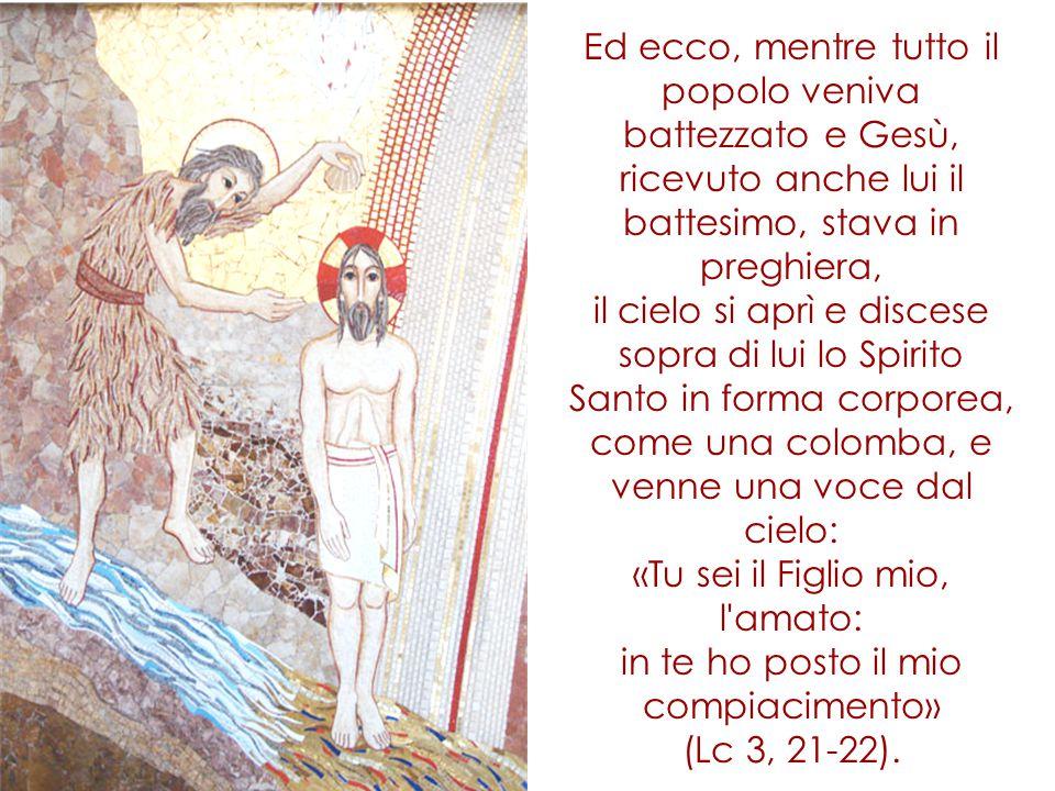 Ed ecco, mentre tutto il popolo veniva battezzato e Gesù, ricevuto anche lui il battesimo, stava in preghiera, il cielo si aprì e discese sopra di lui lo Spirito Santo in forma corporea, come una colomba, e venne una voce dal cielo: «Tu sei il Figlio mio, l amato: in te ho posto il mio compiacimento» (Lc 3, 21-22).