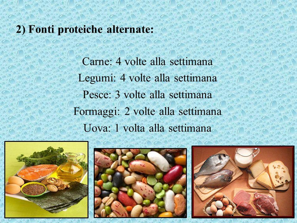 2) Fonti proteiche alternate: Carne: 4 volte alla settimana