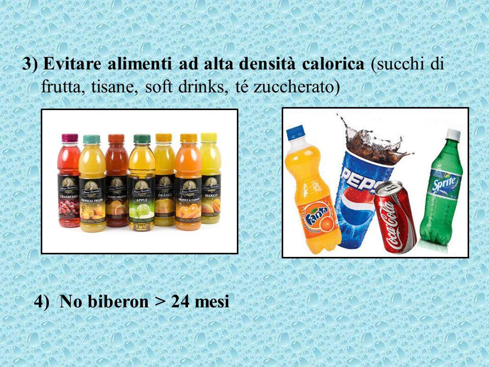 3) Evitare alimenti ad alta densità calorica (succhi di frutta, tisane, soft drinks, té zuccherato)