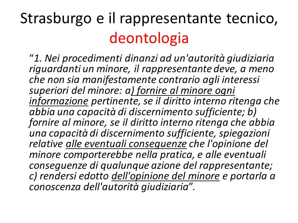 Strasburgo e il rappresentante tecnico, deontologia
