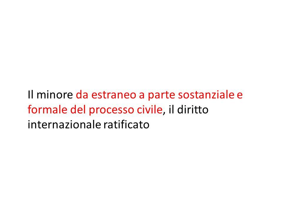 Il minore da estraneo a parte sostanziale e formale del processo civile, il diritto internazionale ratificato