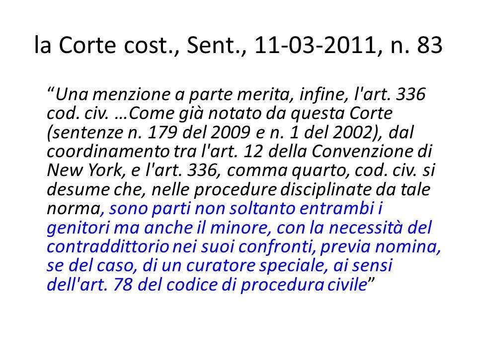 la Corte cost., Sent., 11-03-2011, n. 83