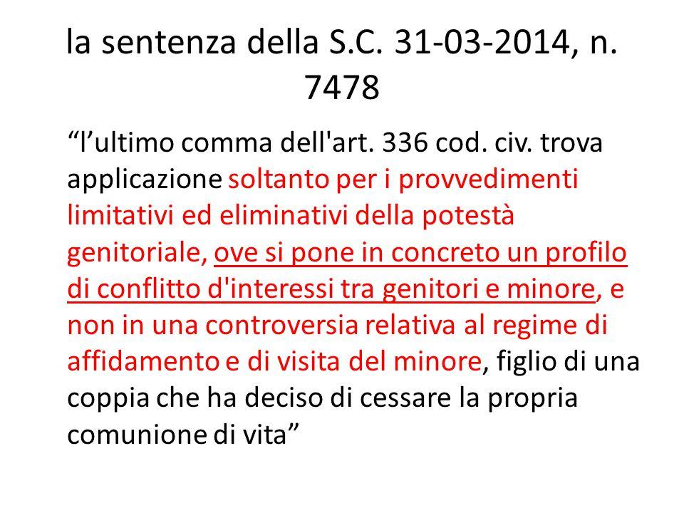 la sentenza della S.C. 31-03-2014, n. 7478