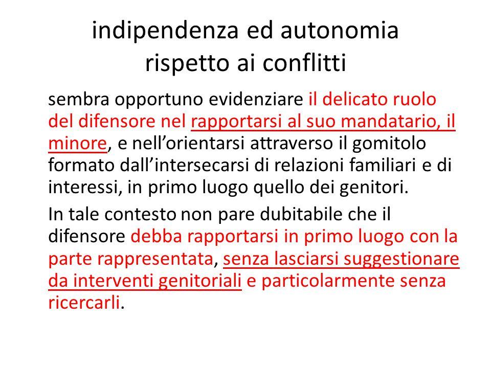 indipendenza ed autonomia rispetto ai conflitti