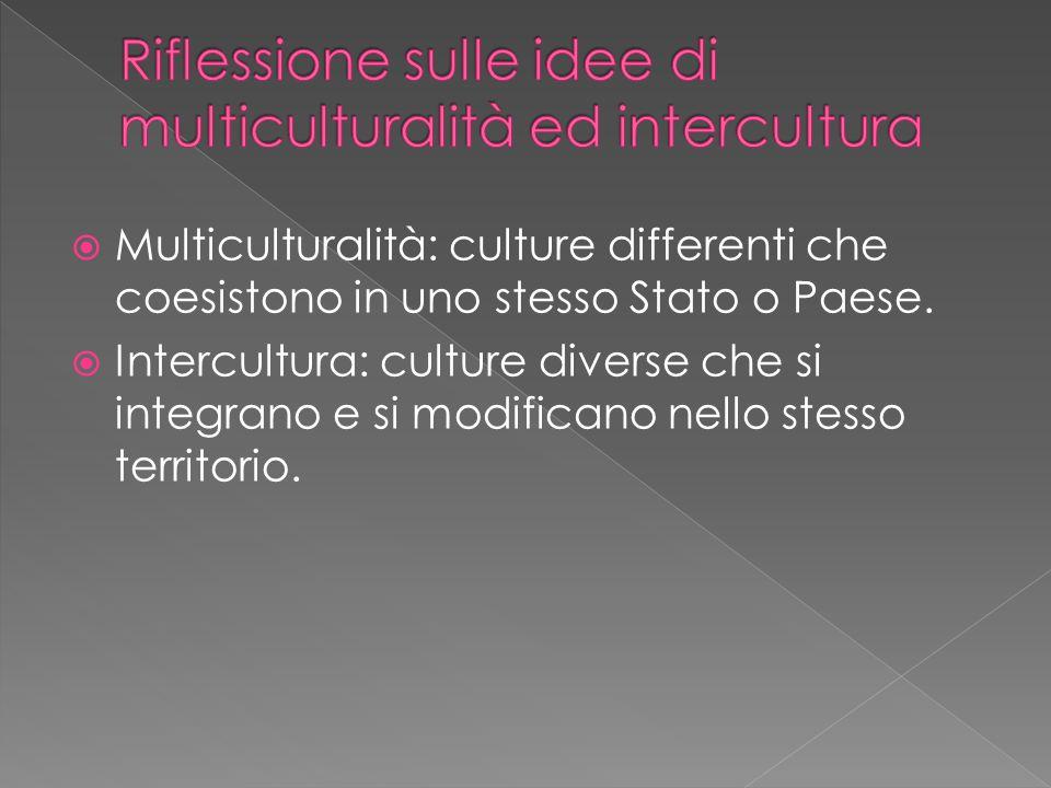 Riflessione sulle idee di multiculturalità ed intercultura