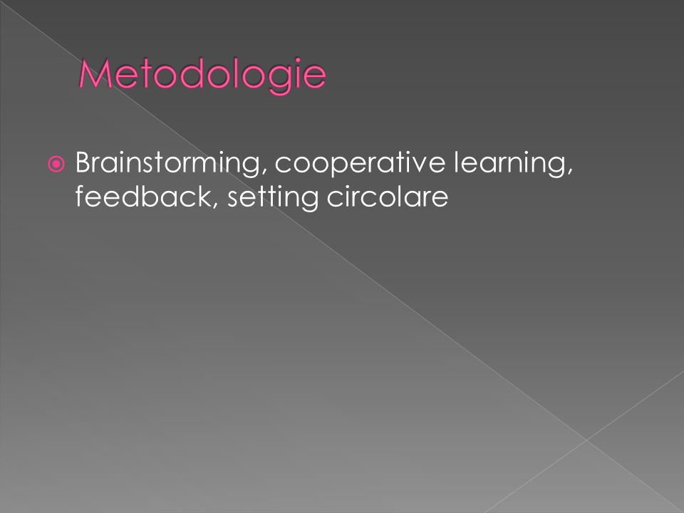 Metodologie Brainstorming, cooperative learning, feedback, setting circolare