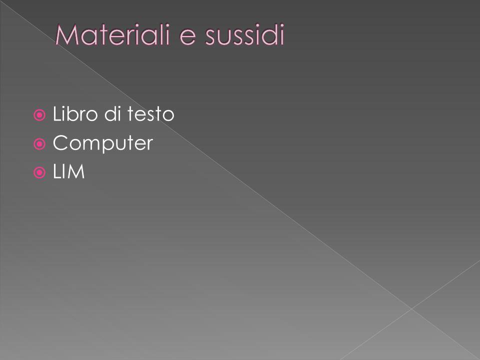 Materiali e sussidi Libro di testo Computer LIM
