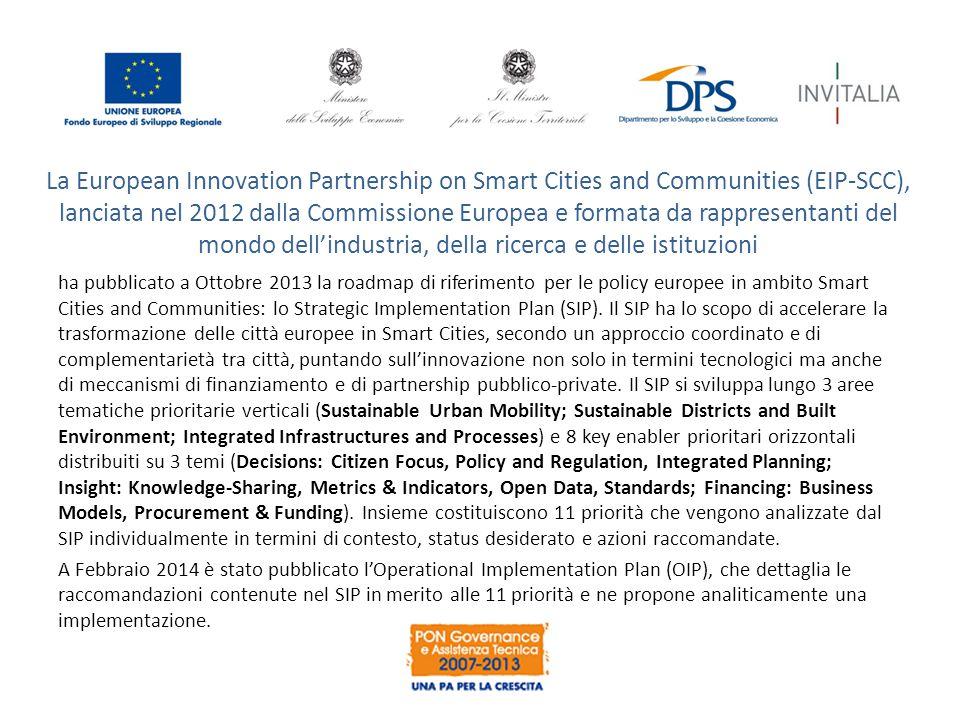 La European Innovation Partnership on Smart Cities and Communities (EIP-SCC), lanciata nel 2012 dalla Commissione Europea e formata da rappresentanti del mondo dell'industria, della ricerca e delle istituzioni