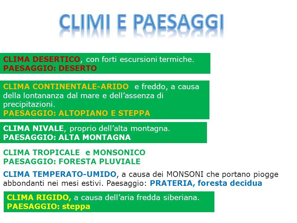 Climi e paesaggi CLIMA DESERTICO, con forti escursioni termiche.