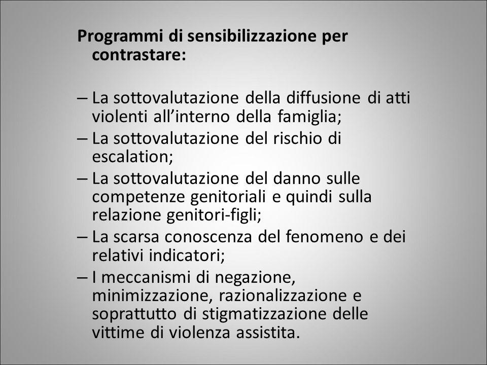 Programmi di sensibilizzazione per contrastare: