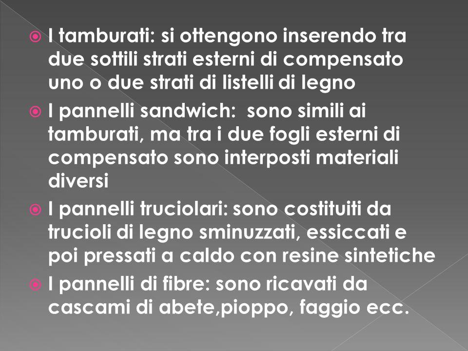I tamburati: si ottengono inserendo tra due sottili strati esterni di compensato uno o due strati di listelli di legno