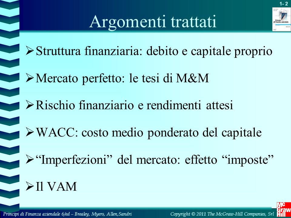 Argomenti trattati Struttura finanziaria: debito e capitale proprio