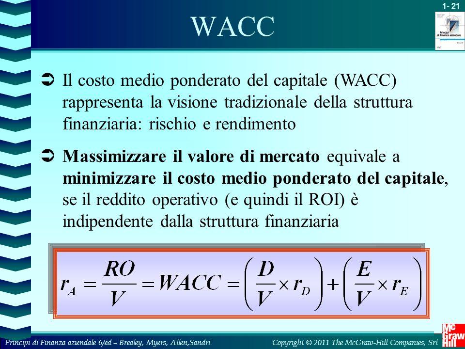 WACC Il costo medio ponderato del capitale (WACC) rappresenta la visione tradizionale della struttura finanziaria: rischio e rendimento.