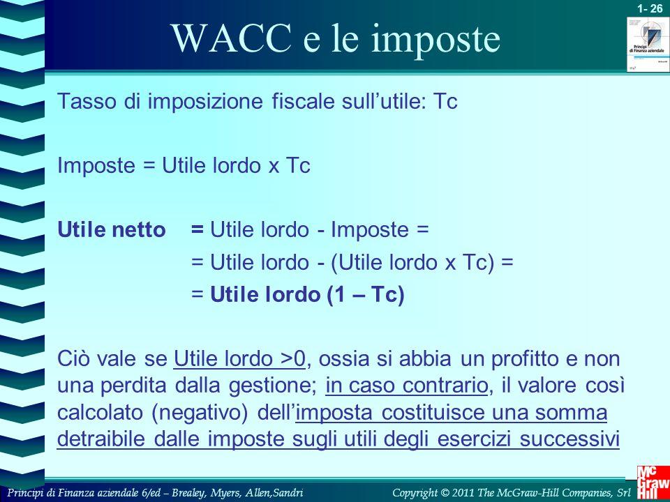 WACC e le imposte Tasso di imposizione fiscale sull'utile: Tc