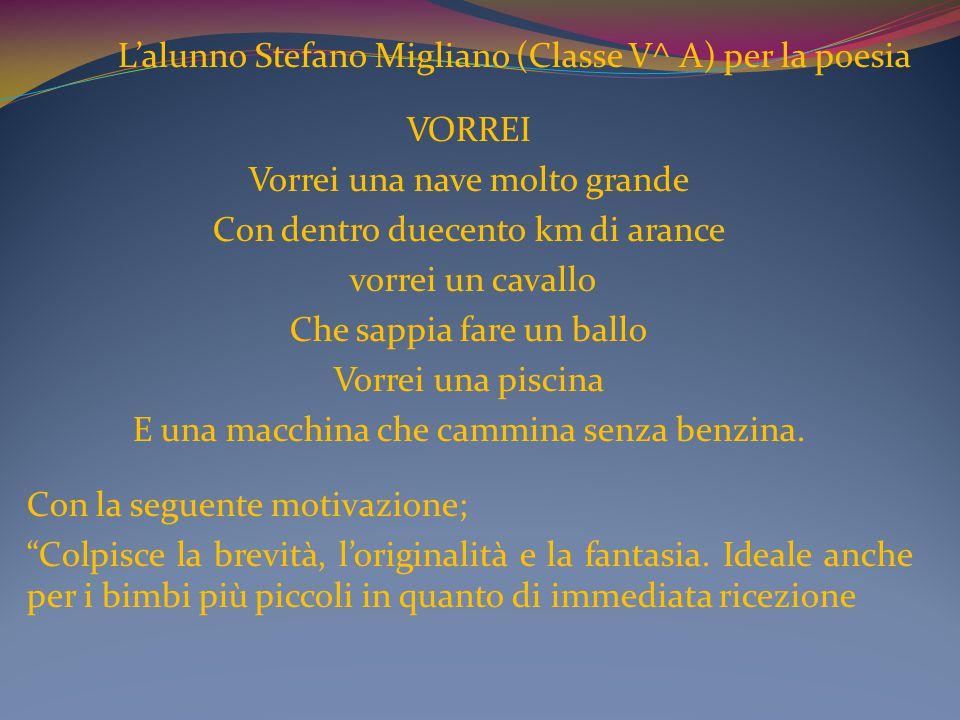 L'alunno Stefano Migliano (Classe V^ A) per la poesia VORREI