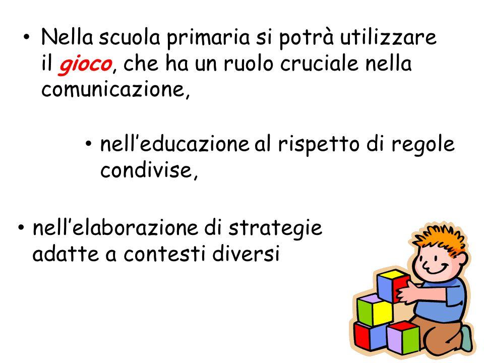 Nella scuola primaria si potrà utilizzare il gioco, che ha un ruolo cruciale nella comunicazione,