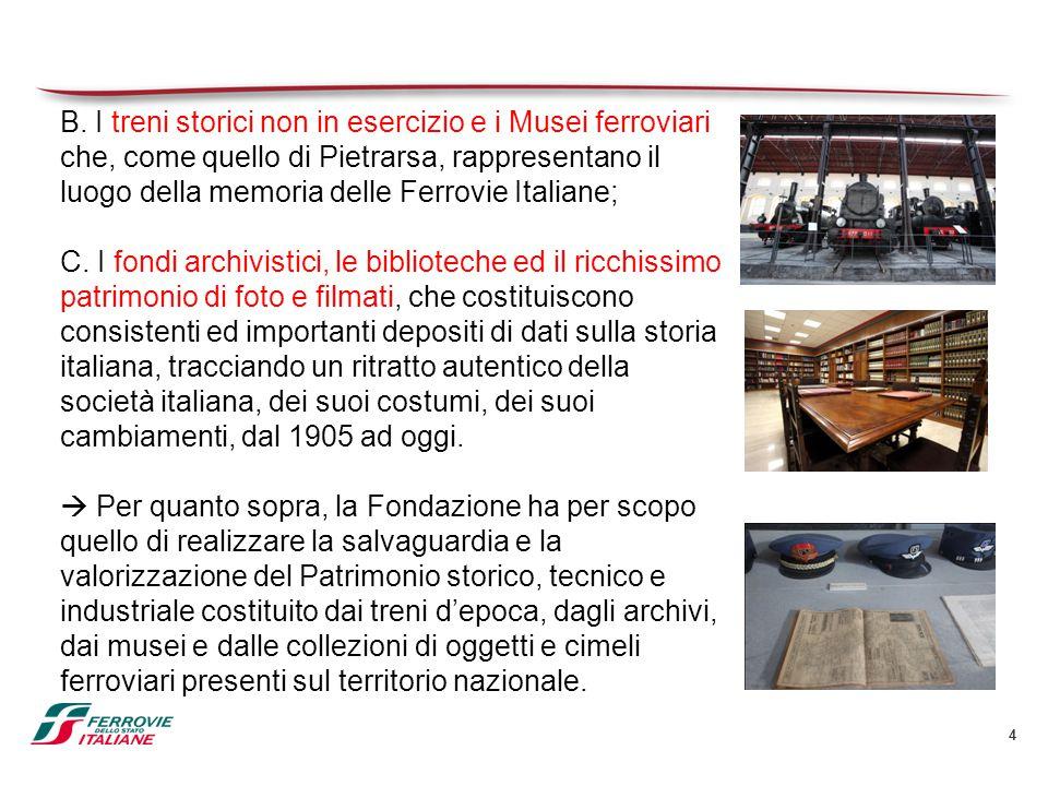 B. I treni storici non in esercizio e i Musei ferroviari che, come quello di Pietrarsa, rappresentano il luogo della memoria delle Ferrovie Italiane;