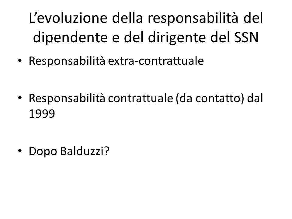 L'evoluzione della responsabilità del dipendente e del dirigente del SSN