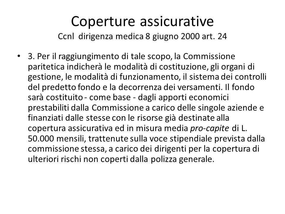 Coperture assicurative Ccnl dirigenza medica 8 giugno 2000 art. 24