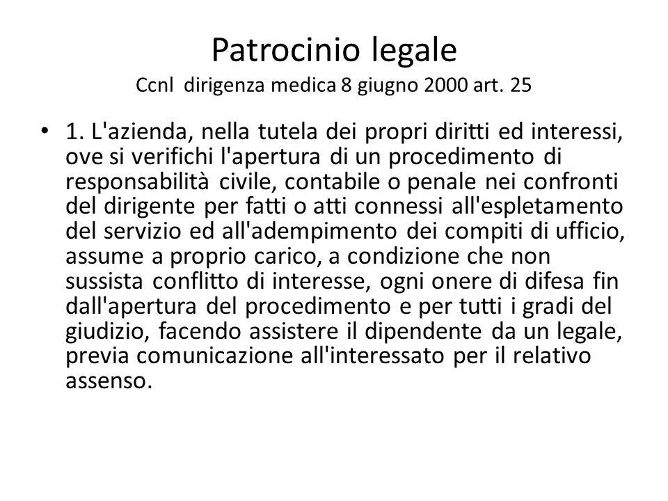Patrocinio legale Ccnl dirigenza medica 8 giugno 2000 art. 25