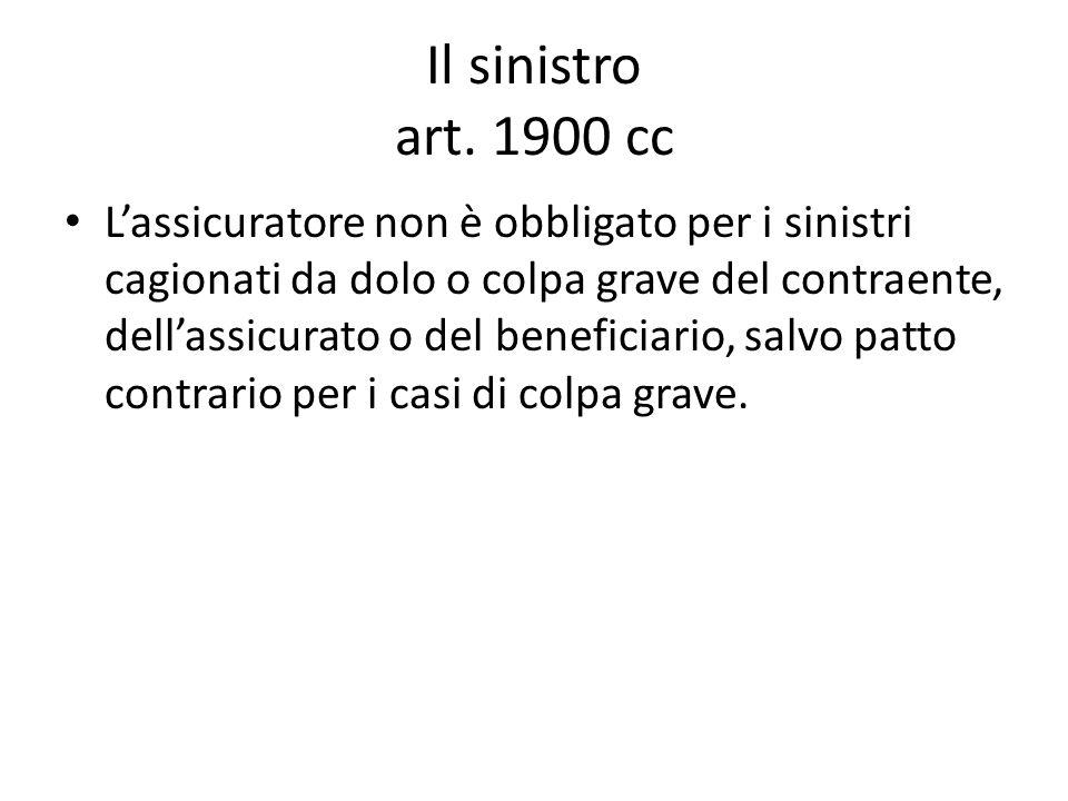 Il sinistro art. 1900 cc
