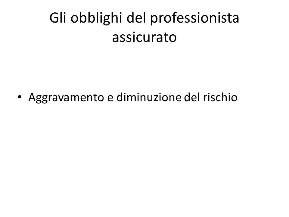Gli obblighi del professionista assicurato