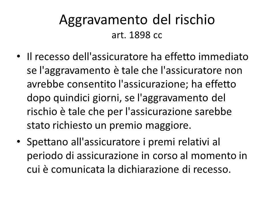 Aggravamento del rischio art. 1898 cc