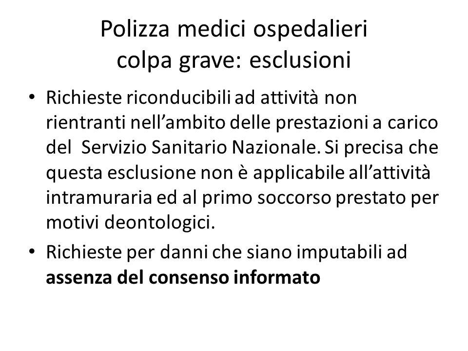 Polizza medici ospedalieri colpa grave: esclusioni