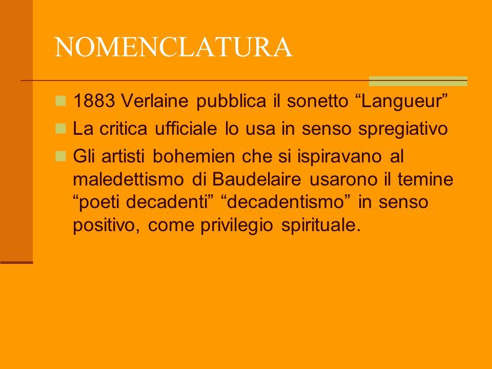 NOMENCLATURA 1883 Verlaine pubblica il sonetto Langueur