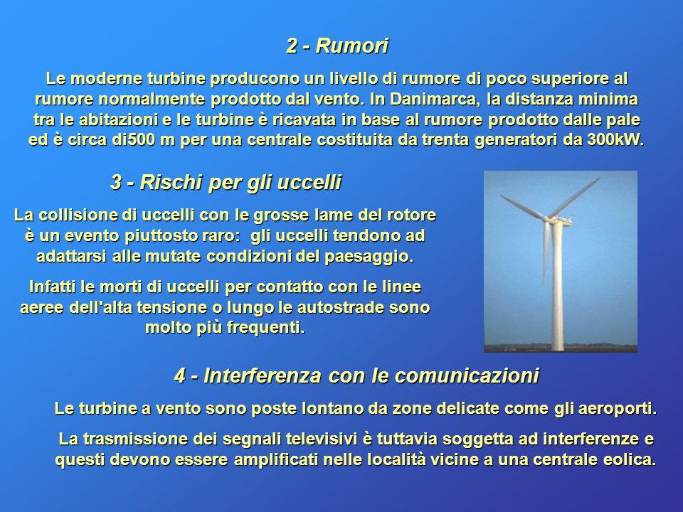 3 - Rischi per gli uccelli 4 - Interferenza con le comunicazioni