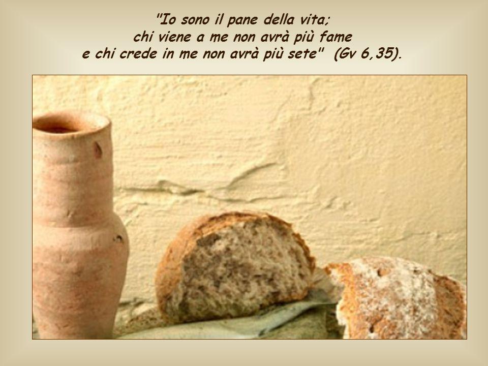 Io sono il pane della vita; chi viene a me non avrà più fame e chi crede in me non avrà più sete (Gv 6,35).
