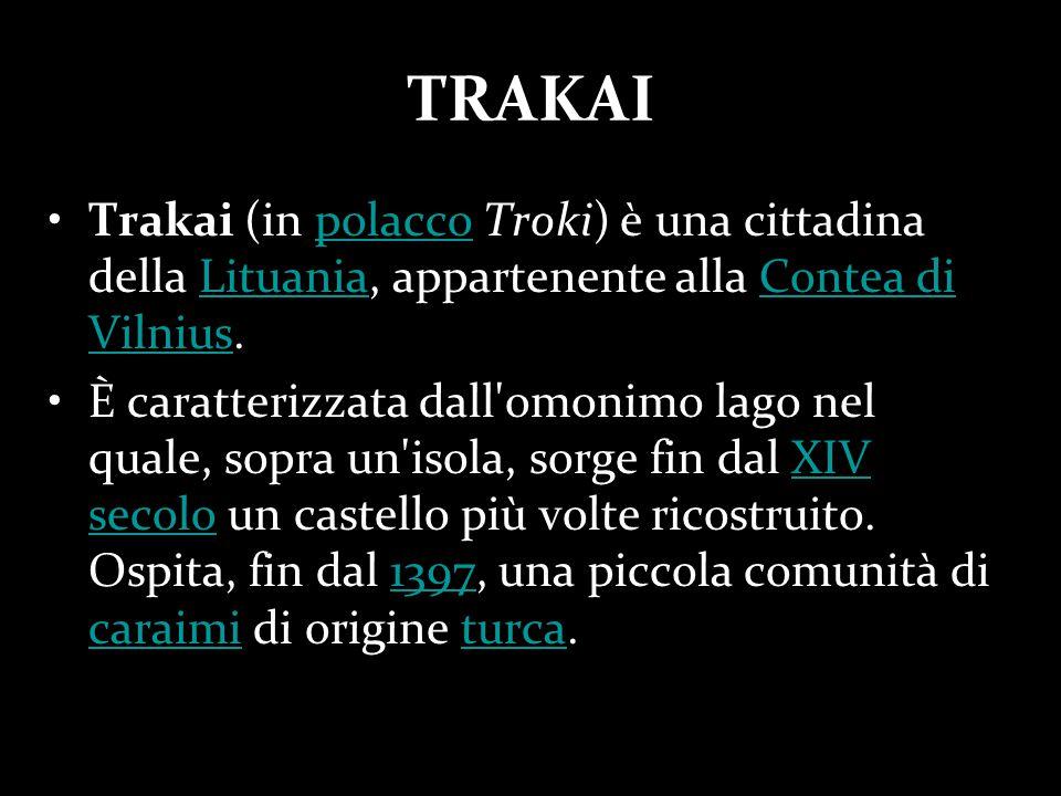 TRAKAI Trakai (in polacco Troki) è una cittadina della Lituania, appartenente alla Contea di Vilnius.