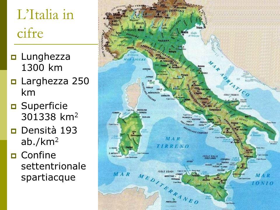 L'Italia in cifre Lunghezza 1300 km Larghezza 250 km