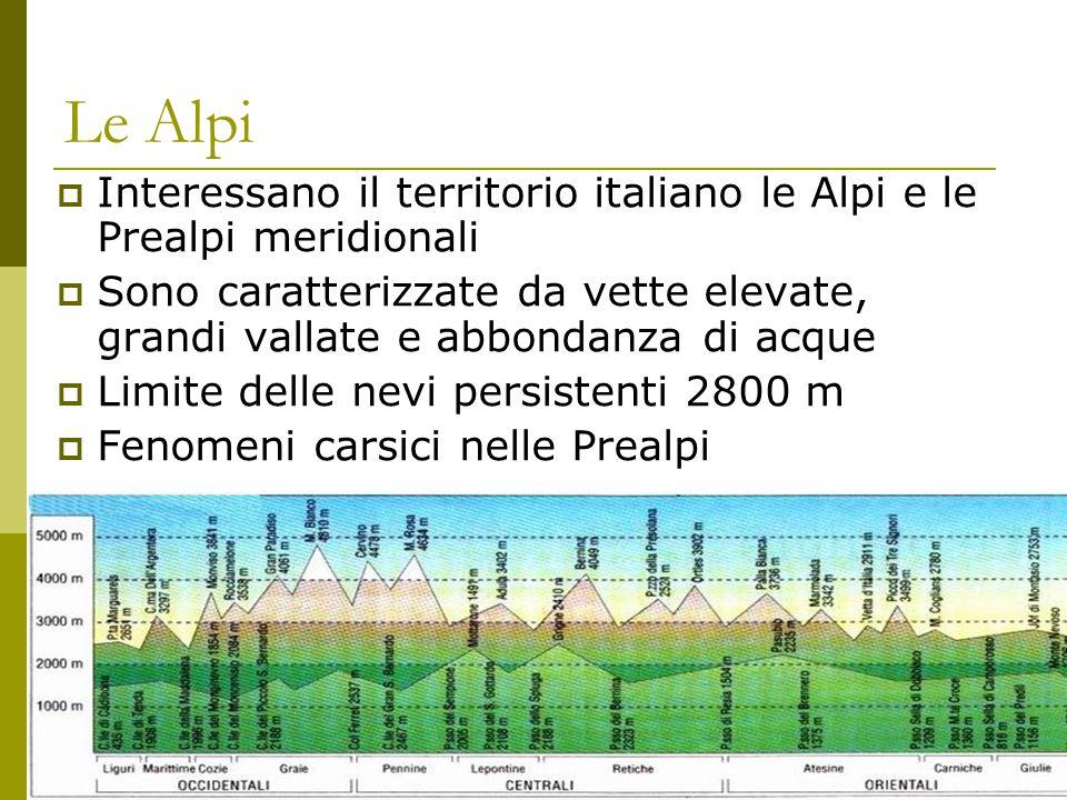 Le Alpi Interessano il territorio italiano le Alpi e le Prealpi meridionali.