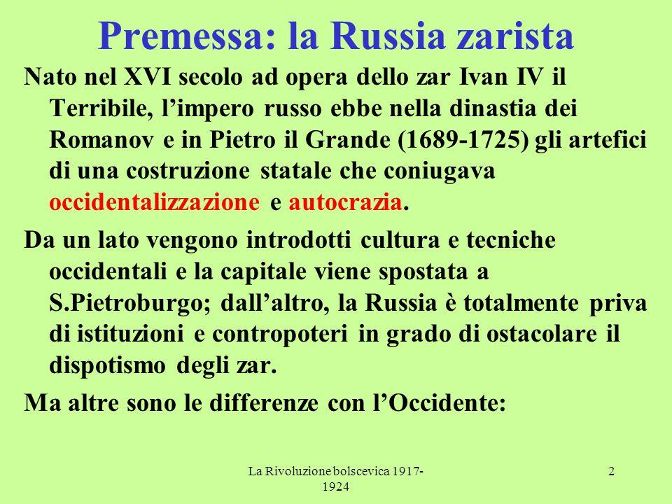 Premessa: la Russia zarista